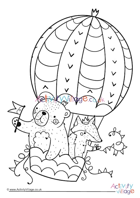 hot air balloon coloring pages # 20