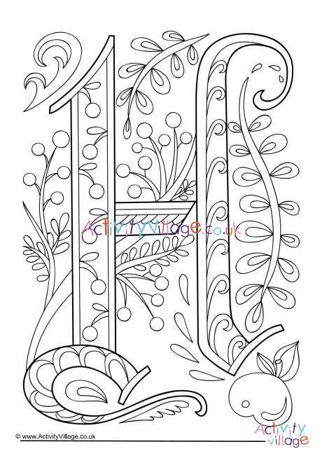 Illuminated Letter H Colouring Page