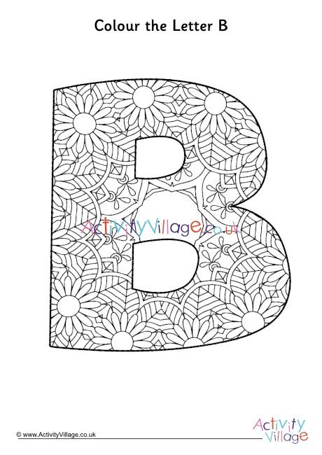 Letter B Mandala Colouring Page