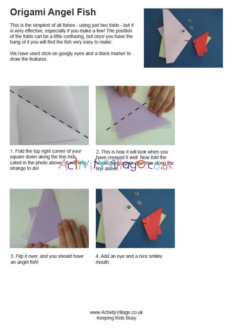 origami angel step by diagram 72 nova starter wiring of the two fold angelfish diagrams fish instructions