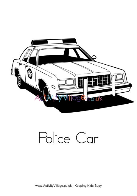 police car coloring page # 14