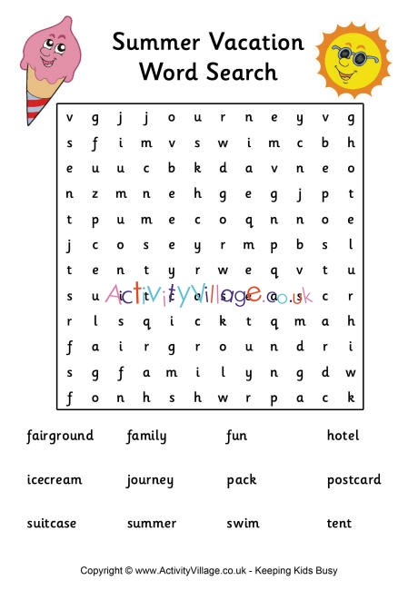 Summer Vacation Word Search Medium