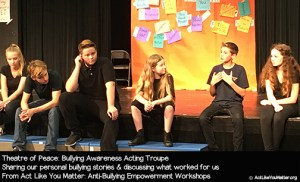 Photo of Theatre of Peace answering an anonymous question submitted by a student in the audience: Have you ever been bullied? Part of Act Like You Matter: Anti-Bullying Empowerment Workshops.