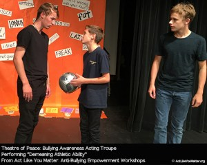 Photo of Theatre of Peace performing Demeaning Athletic Ability Vignette, as part of Act Like You Matter: Anti-Bullying Empowerment Workshops.