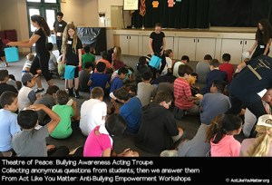 Photo of Theatre of Peace collecting anonymous questions from students as part of Act Like You Matter: Anti-Bullying Empowerment Workshops.