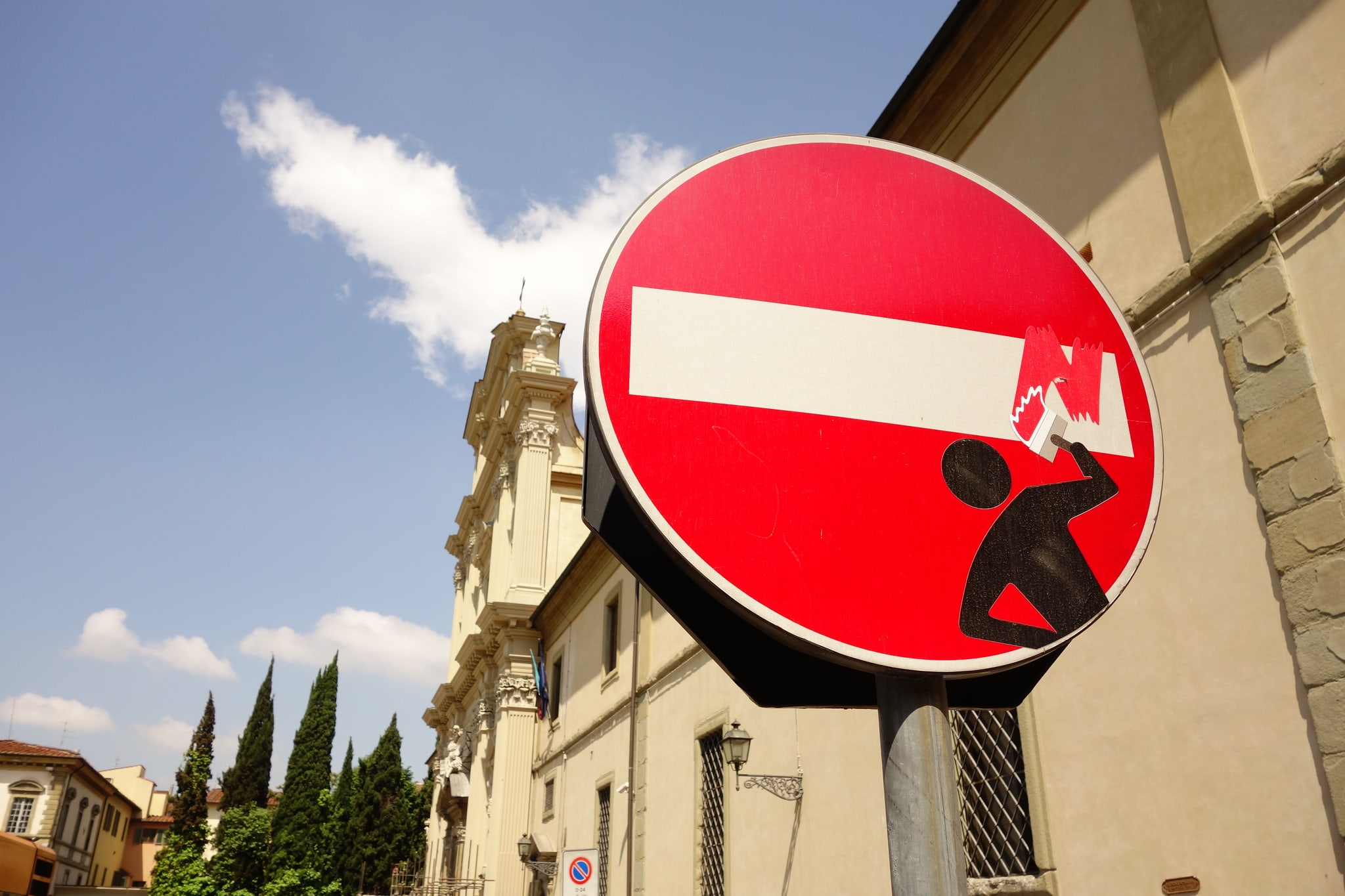 Street Art In Florence Look At The Traffic Signs Act