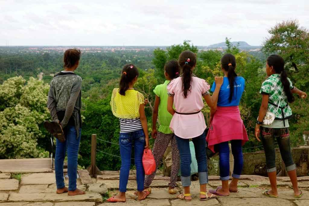 Schoolkids on top of Phnom Bakheng