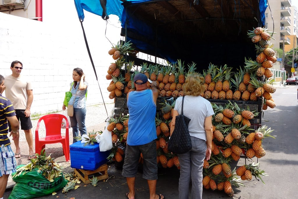 Selling pineapples from a truck