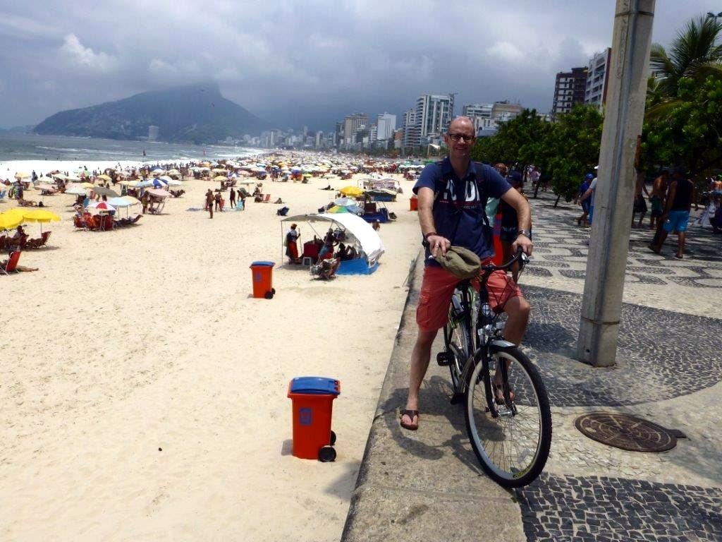 On a bike near Ipanema beach