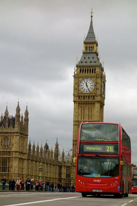 Big Ben with red bus London