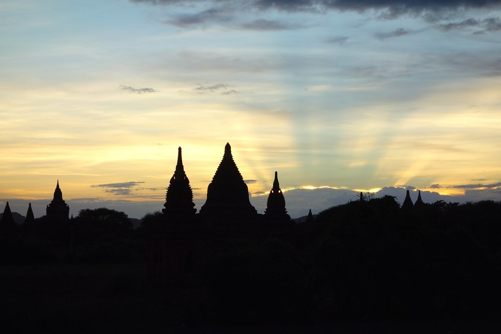 Sunset with Bagan temples