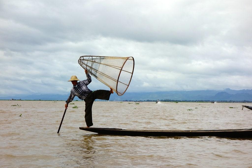 Fisherman on boat Inle Lake
