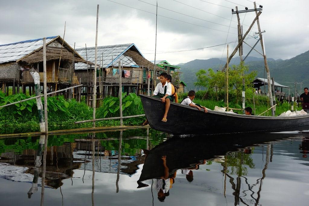 Kids on boat Inle Lake