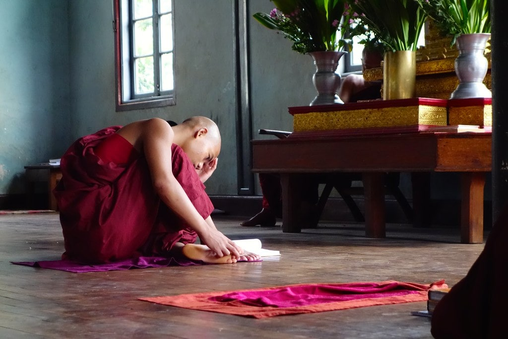 Monk reading book