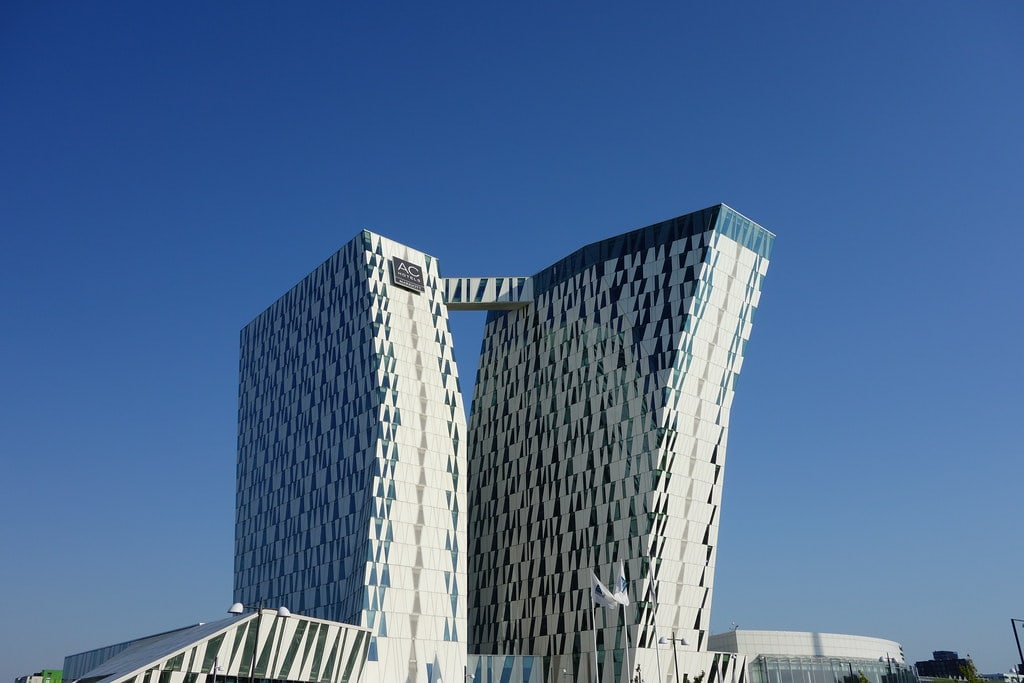 Twisted towers of Bella Sky hotel