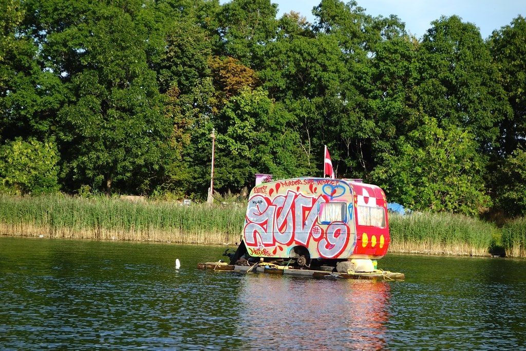 Alternative caravan on lake