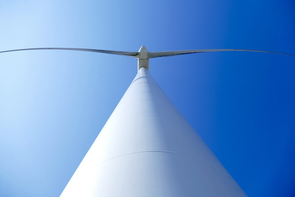 Huge wind turbine from below