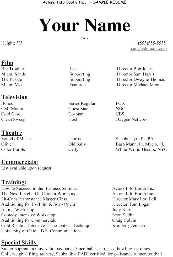 Example Actor Resume Sample For