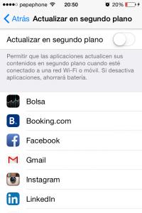 Apps en segundo plano