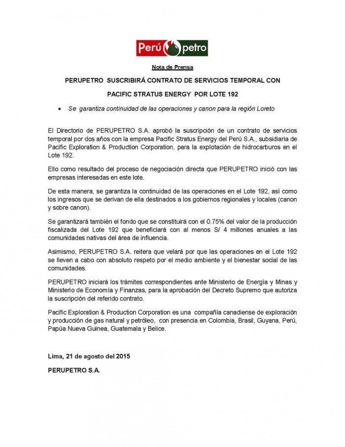 PerúPetro-PacificStratusEnergy