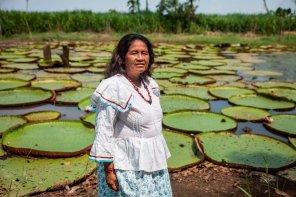 Retrato de Ema Tapullima, Presidenta de la Comunidad y Teniente Gobernadora de Puerto Prado. Ella eligió posar ante las hojas de Victoria Regia por ser uno de los símbolos de la biodiversidad de la Amazonía peruana y atractivo importante de Puerto Prado.