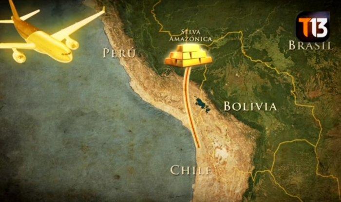 La nueva ruta del oro ilegal hacia Chile. Captura de imagen: Teletrece.