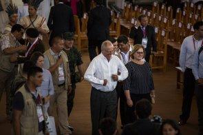 El presidente Pedro Pablo Kuczynski estuvo presente en la visita del Papa a Puerto Maldonado.