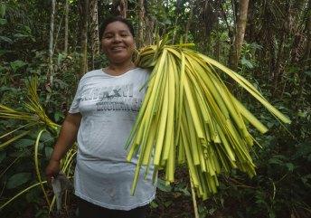 Uno de los principales recursos aprovechados sosteniblemente por las comunidades de esta zona es la chambira, una fibra vegetal que se obtiene de la palmera del mismo nombre, con la que elaboran hermosas artesanías. Foto: SPDA/Spectabilis