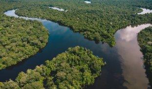 ACR Alto Nanay - Pintuyacu Chambira. Toma aérea del encuentro de los ríos Nanay y Pintuyacu. Foto: SPDA / Spectabilis