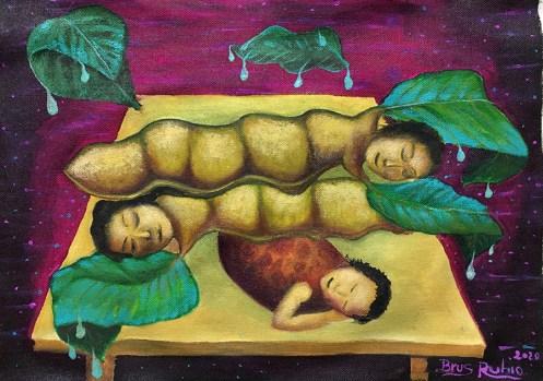 """Obra """"Dulce sueños niños frutas"""" del artista Brus Rubio."""