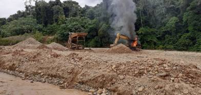 Megaoperativo contra la minería ilegal en la Comunidad Nativa de Kotsimba el pasado 29 de abril. Foto: FEMA