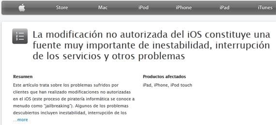 Peligros jailbreak Apple dice en su web que el jailbreak es peligroso