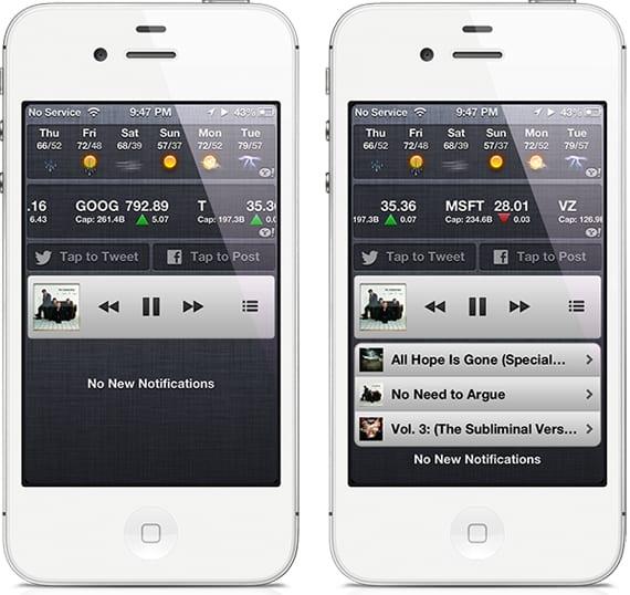 powermusicminiplayerwidget PowerMusic MiniPlayer: reproductor tipo iTunes 11 en tu iPhone (Cydia)