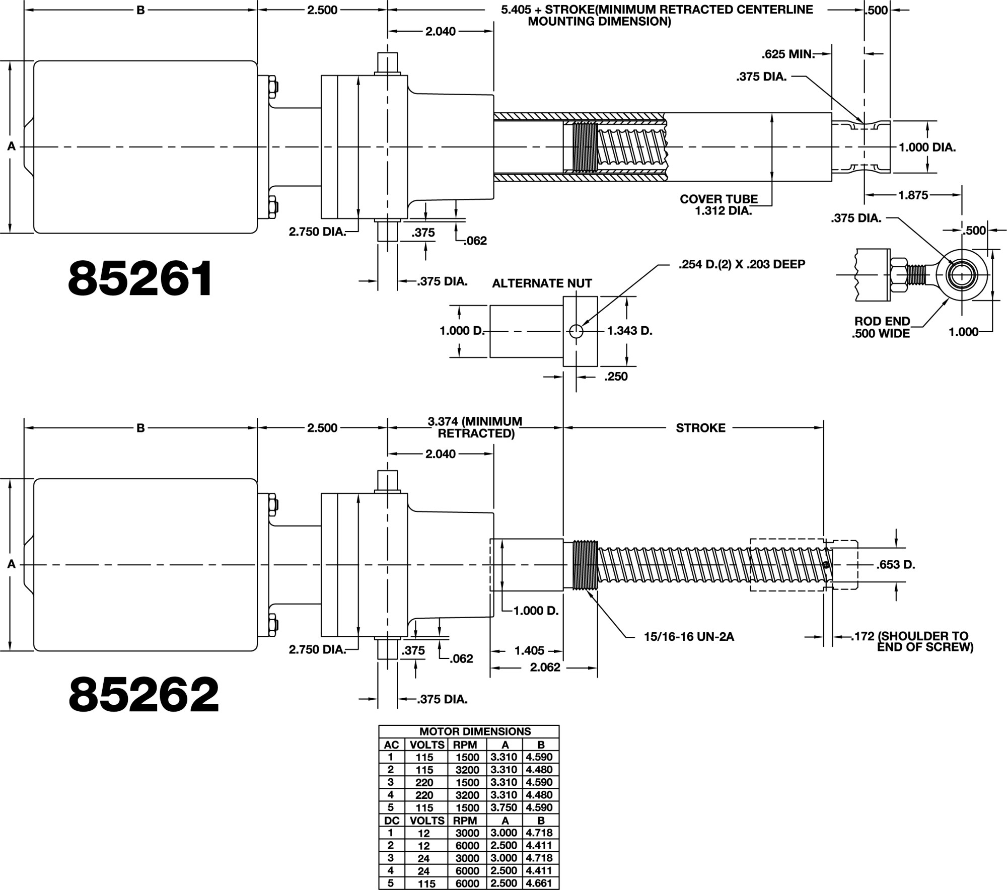 hight resolution of technical data inline actuator 85261 85262