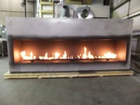 Custom Linear Propane Fireplace with 120