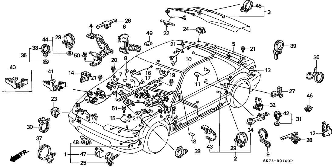 1990 Acura Integra 3 Door LS KA 5MT Wire Harness