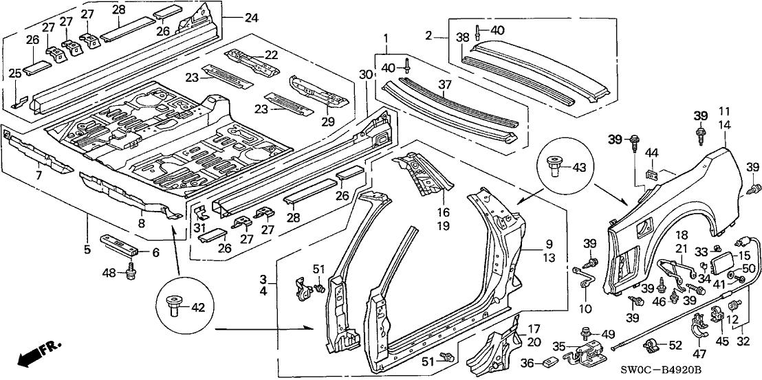 2003 Acura NSX 2 Door NSX-T KA 6MT Outer Panel