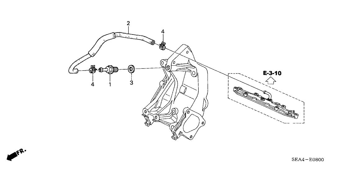 2004 Acura TSX 4 Door TSX KA 5AT Breather Tube