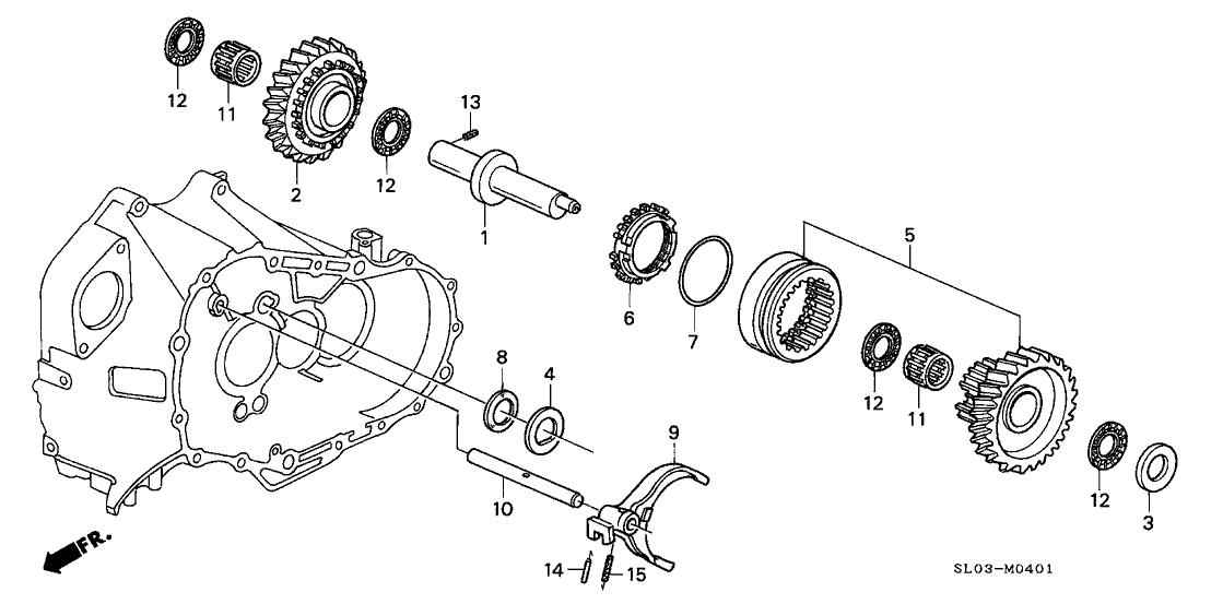 1991 Acura NSX 2 Door NSX KA 5MT 5MT Reverse Gear Shaft