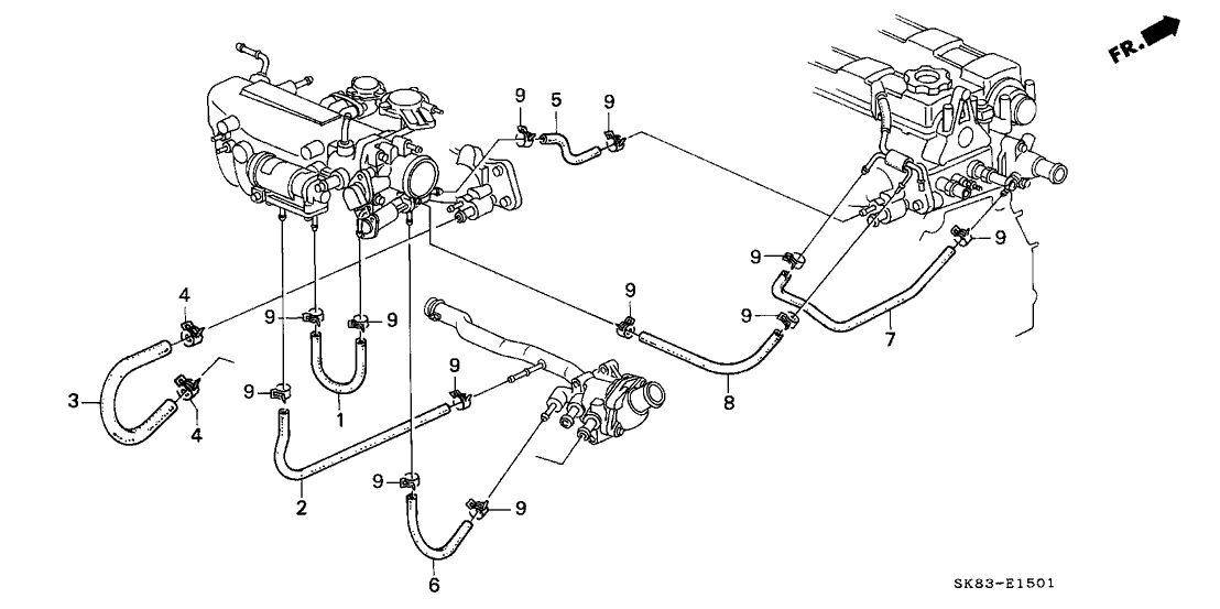1991 Acura Integra 4 Door RS KA 5MT Water Hose