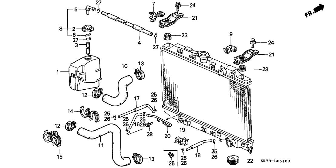 1990 Acura Integra 3 Door LS KL 5MT Radiator Hose
