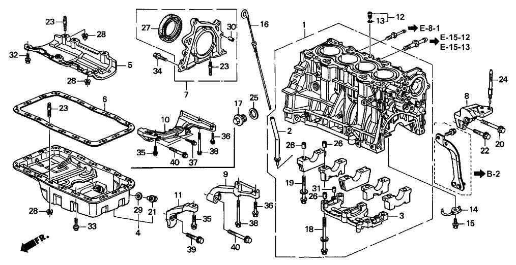 2001 Acura Integra 3 Door TYPE-R KA 5MT Cylinder Block