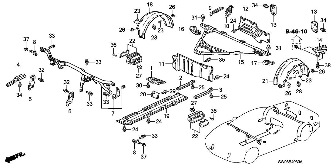 2002 Acura NSX 2 Door NSX-T KA 6MT Body Components