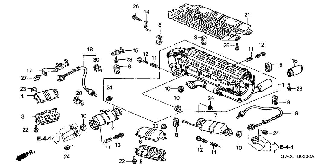 2003 Acura NSX 2 Door NSX-T KA 6MT Exhaust Pipe