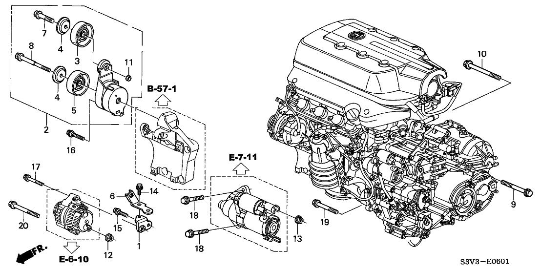 2003 Acura MDX 5 Door PREM KA 5AT Alternator Bracket