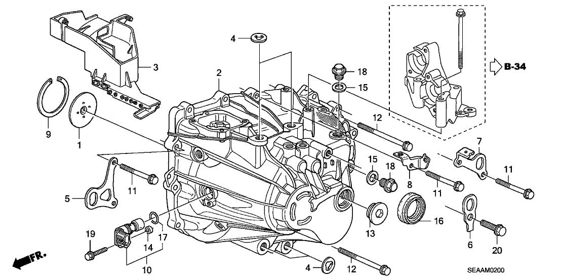 2008 Acura TSX 4 Door TSX KA 6MT MT Transmission Case