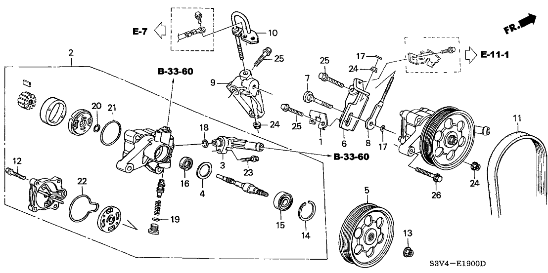 2002 Acura MDX 5 Door STD KA 5AT P.S. Pump Bracket