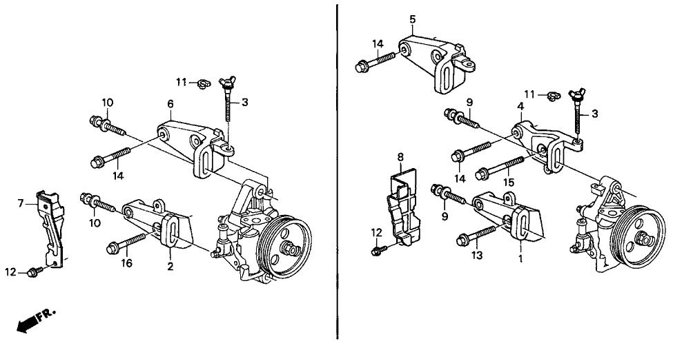 1994 Acura Integra 3 Door RS KA 5MT P.S. Pump Bracket