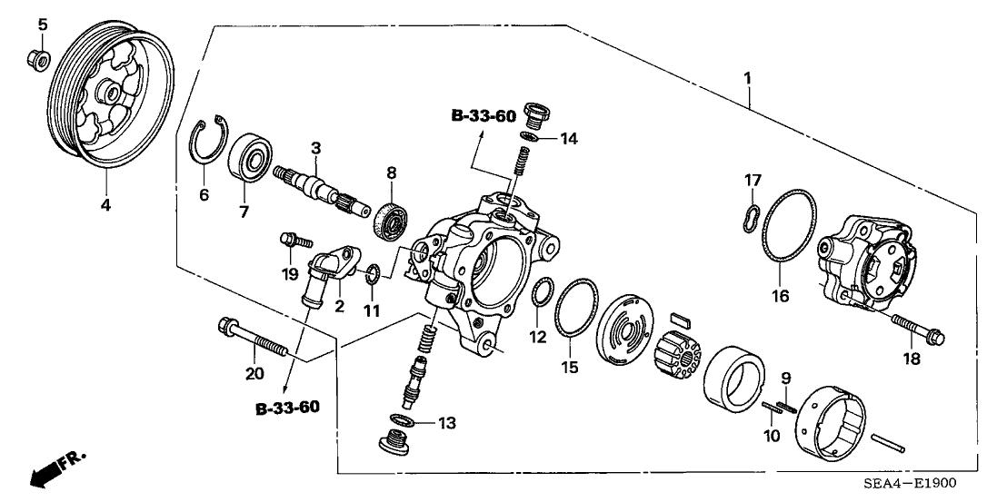 2005 Acura TSX 4 Door TSX KA 5AT P.S. Pump