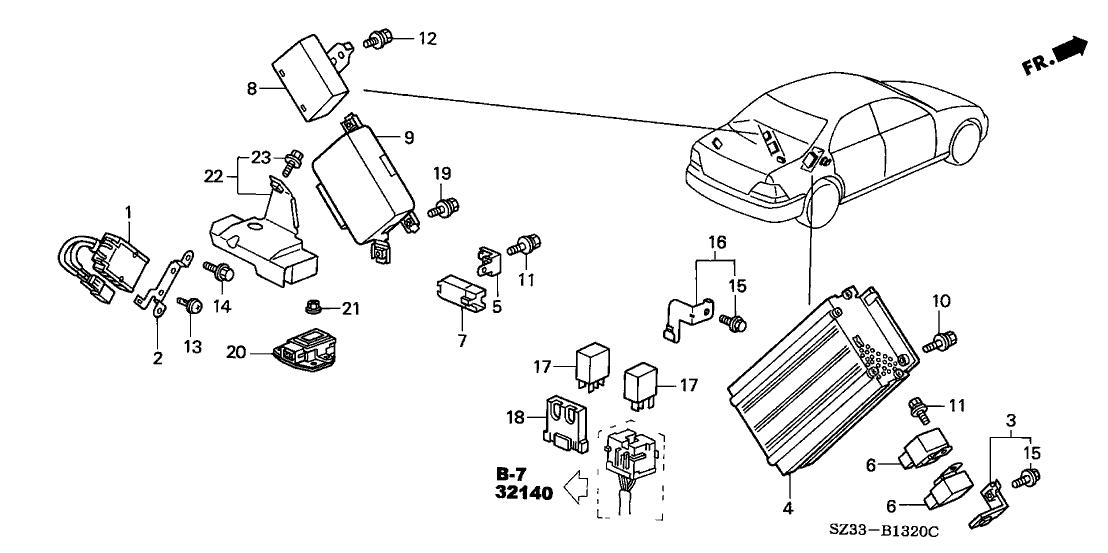 1999 Acura RL 4 Door RL KA 4AT Control Unit (Trunk)